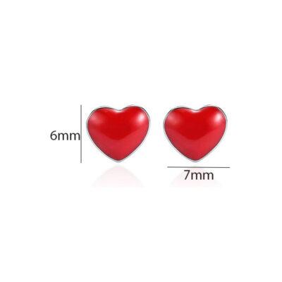 Silver Red-Heart Stud Earrings
