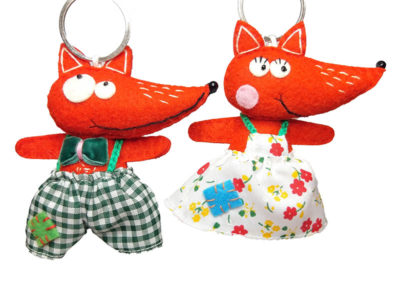 Pair of delightful handmade felt Fox keyrings