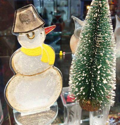 Handmade Fused Glass Snowman