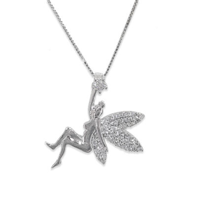 Sterling Silver & Cubic Zirconia Angel Necklace