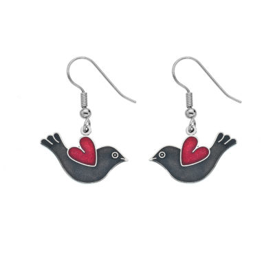 Black & Red Bird and Heart Enamel Earrings
