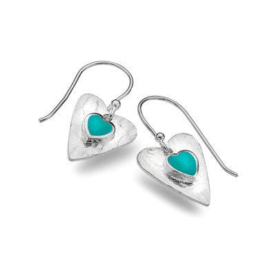 Sterling Silver & Turquoise Heart Earrings
