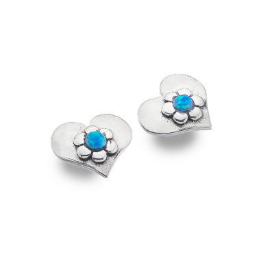 Blue Love Flower Stud Earrings
