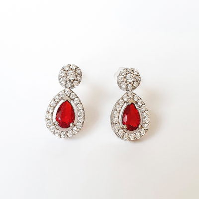 Red Cubic Zirconia Earrings