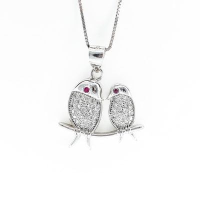 Sterling Silver & Cubic Zirconia Birds Necklace