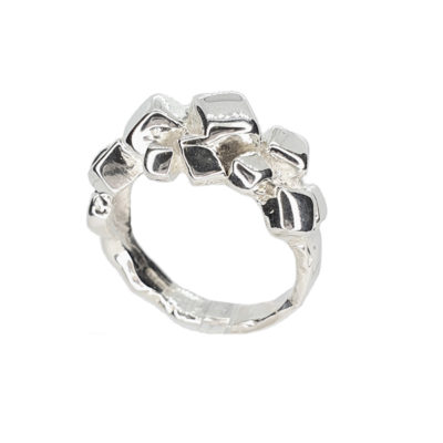 Sterling Silver Stone Chips Cluster Ring
