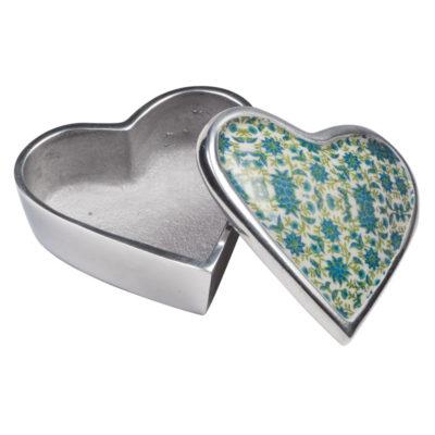 Floral Print Aluminium Heart Box
