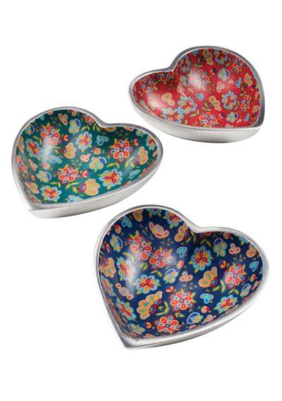 Flower Print Aluminium Heart Dish