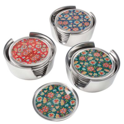 Set of 6 Flower Print Aluminium Coasters