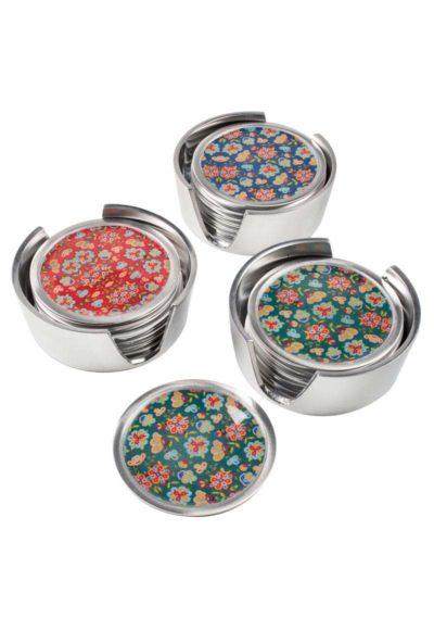 Set of 6 Flower Print Aluminium Coasters