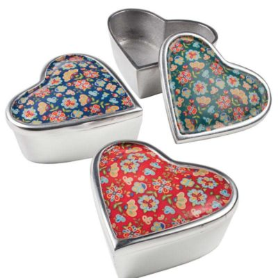 Flower Print Aluminium Heart Box