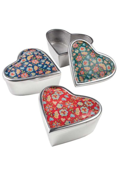 Flower Print Aluminium Heart Box