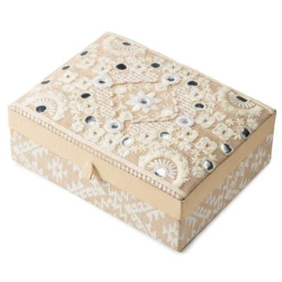 Chambray embroidered jewellery box