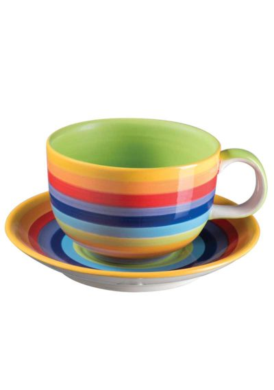 Hand Painted Rainbow Stripe Large Cup & Saucer
