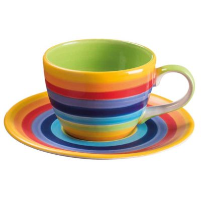 Hand Painted Rainbow Stripe Coffee Cup & Saucer