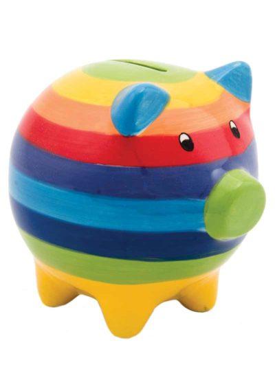Hand Painted Rainbow Stripe Ceramic Piggy Bank