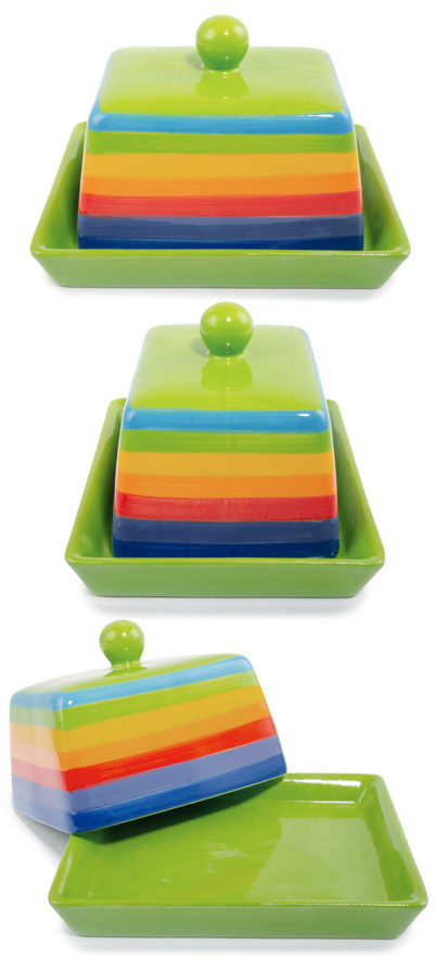 Hand Painted Rainbow Stripe Butter Dish