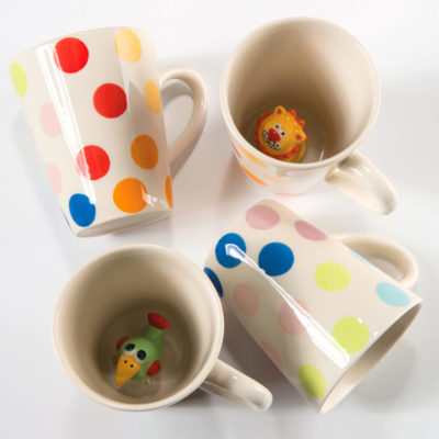 Hand painted animal dotty mug
