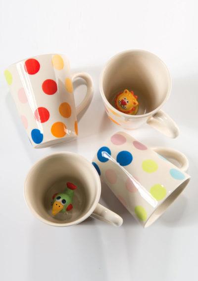 Hand painted animal dotty mug