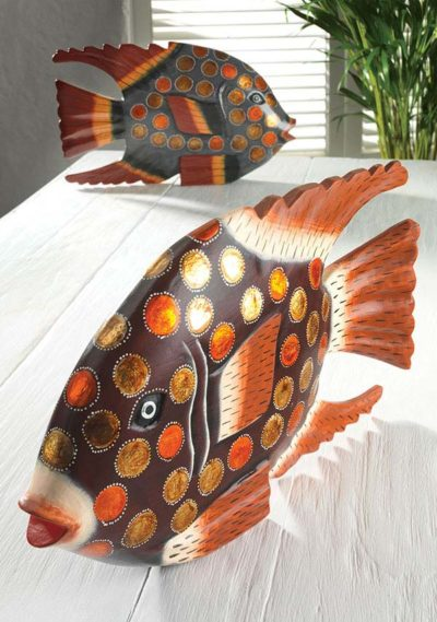 Hand carved & painted fish