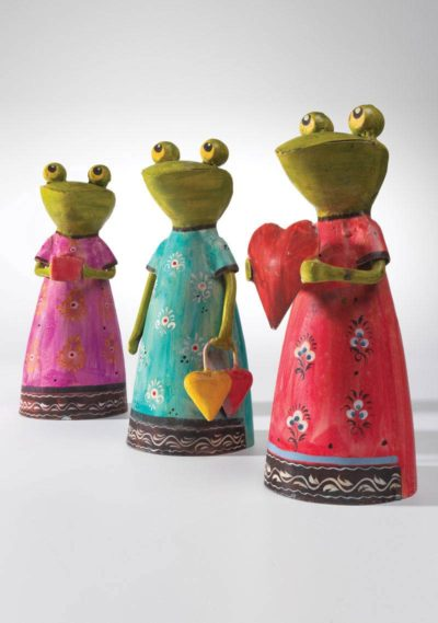 Hand painted iron frog in a dress