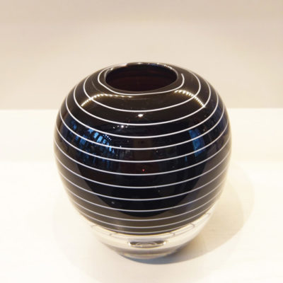 Dark Heliotrope with white trail Glass Vase
