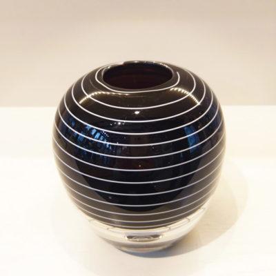 Dark Heliotrope with white trail Glass Vase