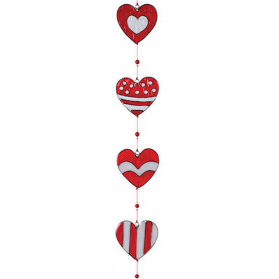 String of Red & White Heart Resin Sun catcher