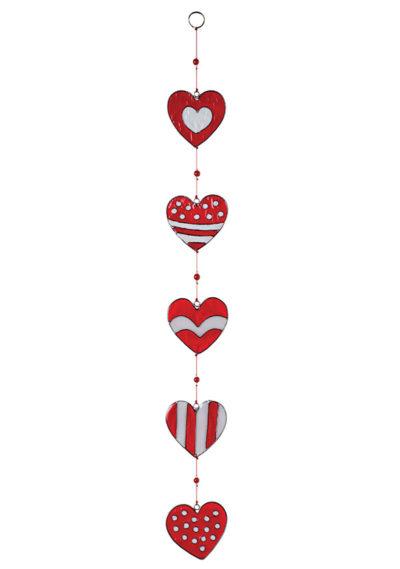 String of Red & White Heart Resin Sun catcher
