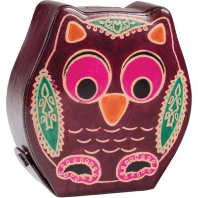 Printed leather owl money bank