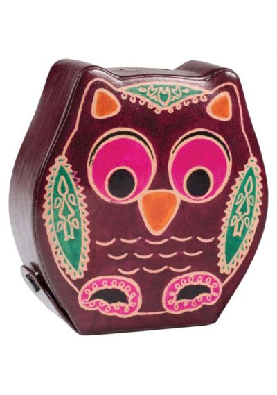 Printed leather owl money bank