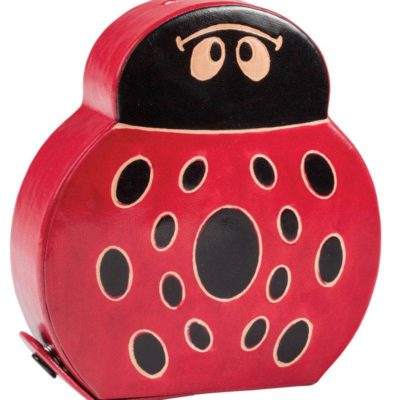 Printed leather ladybird money bank