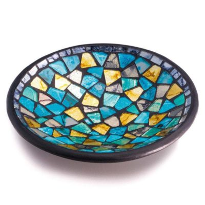 Turquoise and Gold Mosaic Round Bowl