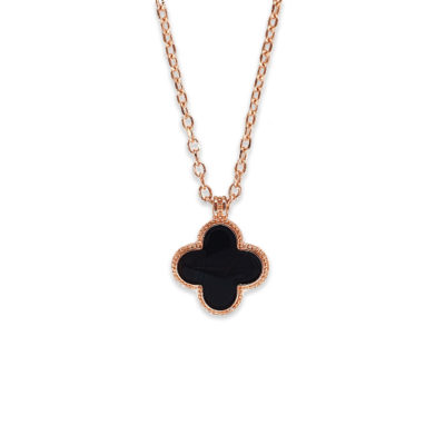 Sterling Silver Rose Gold Plated Black Crystal Necklace