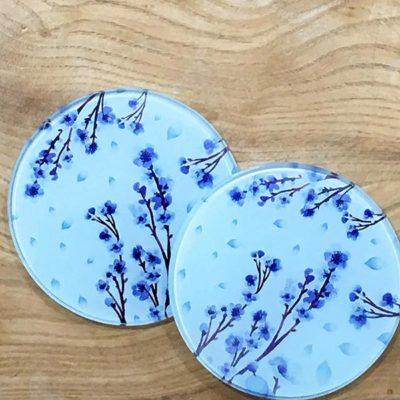 Glass Coaster - Blue Blossom