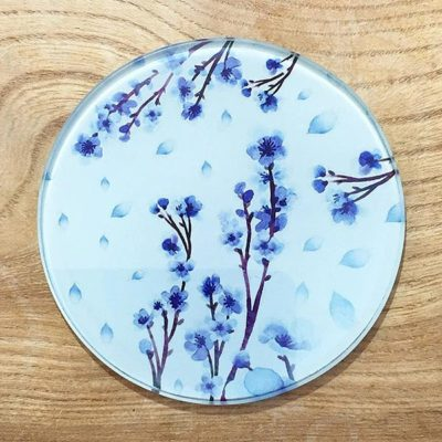 Glass Coaster - Blue Blossom