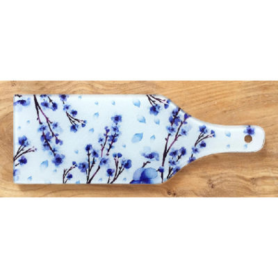 Glass Bottle Chopping Board - Blue Blossom