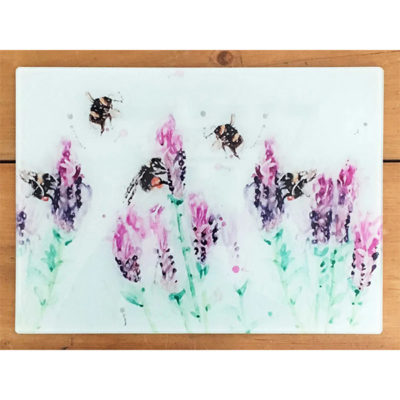 Glass Chopping Board - Beeing Around Lavender