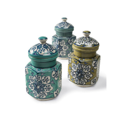 Hand Painted Ceramic Storage Jar
