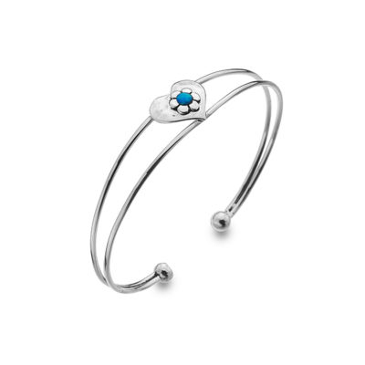Blue Love Opal Flower Bangle