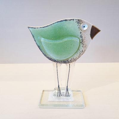 Handmade Green Fused Glass Bird