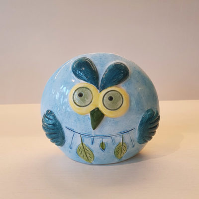 Handmade Blue Ceramic Owl