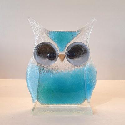 Handmade Blue Fused Glass Owl