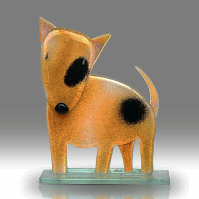 Handmade Fused Glass Bull Terrier