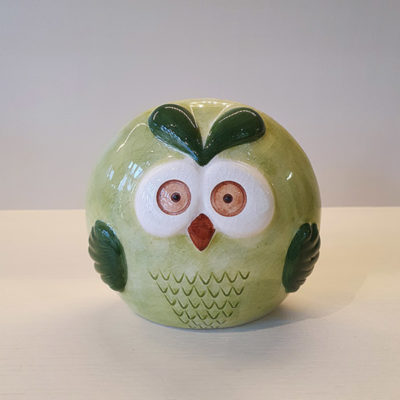 Handmade Green Ceramic Owl