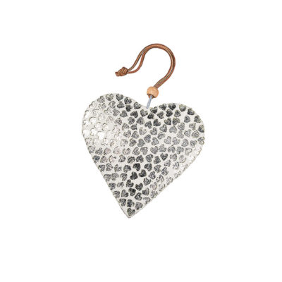 White Finish Glass Heart with Silver Hearts