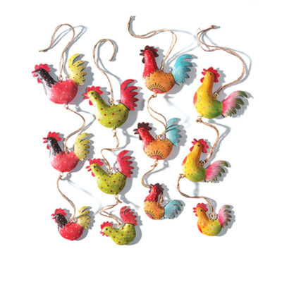 String of 3 hand painted metallic roostersmetalic roosters