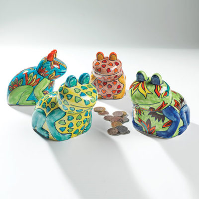 Hand painted ceramic frog money box