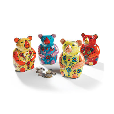 Hand painted ceramic bear money box