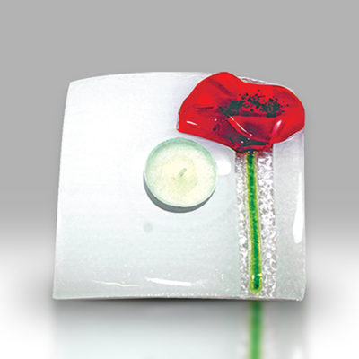 Fused Glass Red Poppy Votive T'Light